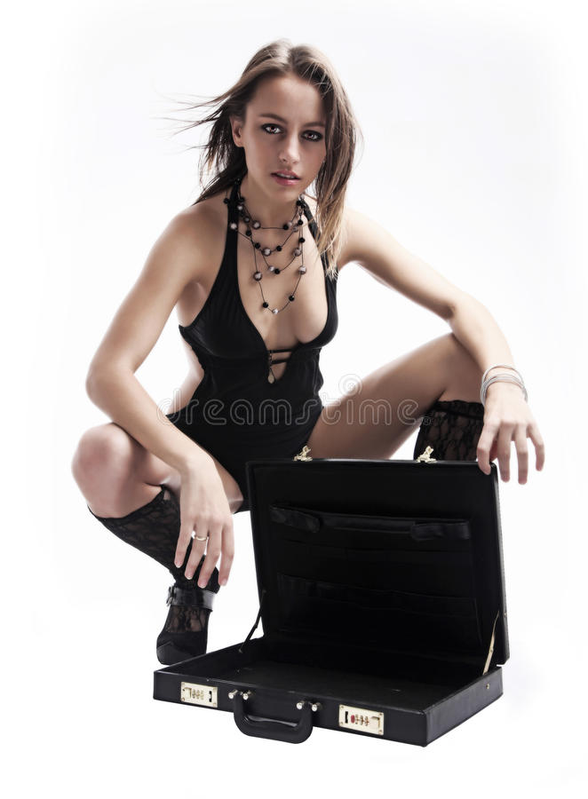 Women with suitcase royalty free stock image