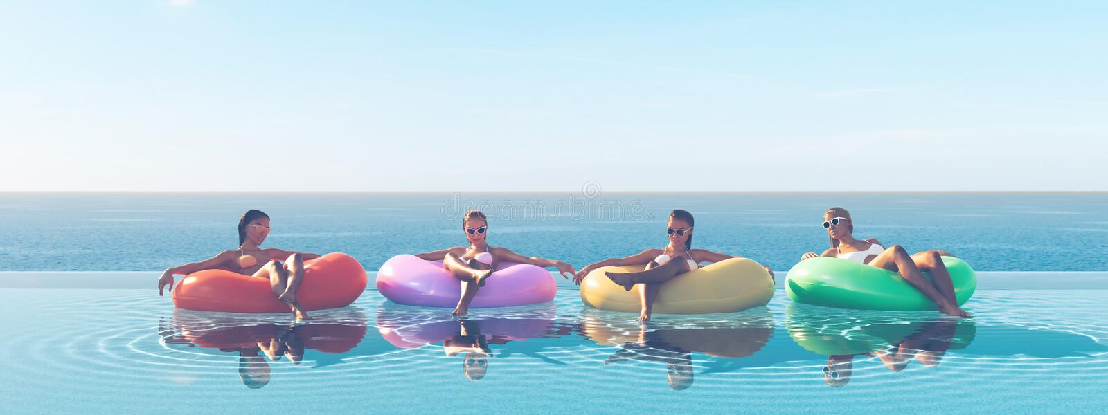 3D-Illustration of women swimming on float in a pool. vector illustration