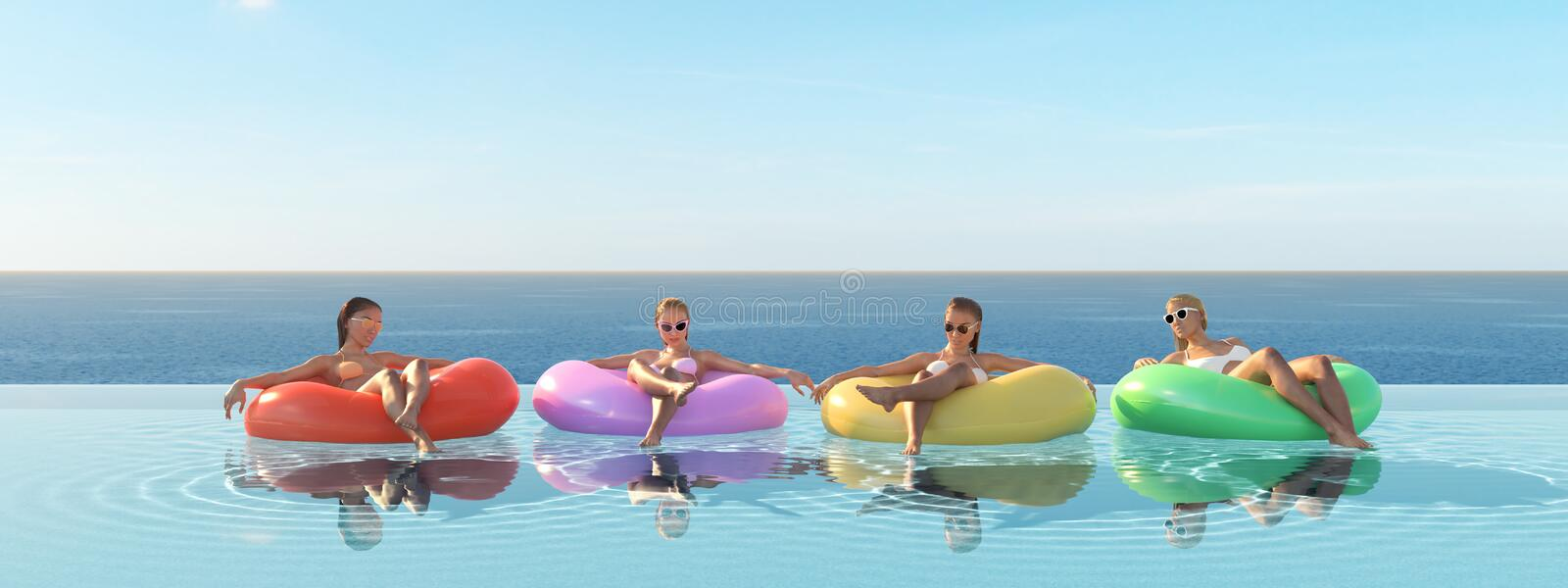 3D-Illustration of women swimming on float in a pool. royalty free illustration