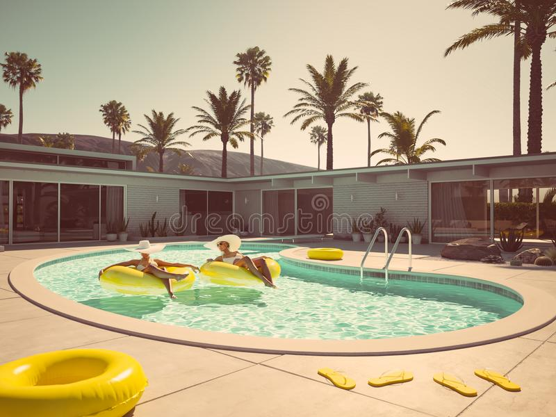 Women swimming on float in a pool. 3d rendering royalty free illustration