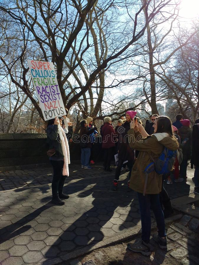 Women`s March Sign, NYC, NY, USA stock images