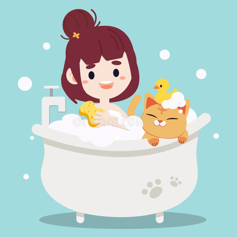 Free Women Taking A Bath With A Cat. Bathtub With Foam Bubbles Inside And Yellow Rubber Duck On The Cute Cat. Women Taking A Bath With Stock Images - 159357724