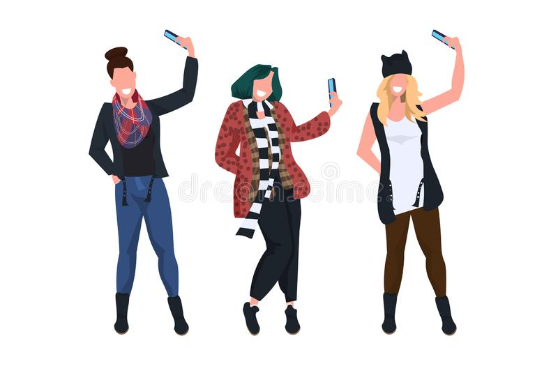 Women taking selfie photo on smartphone camera casual female cartoon characters photographing in different poses white. Background flat full length horizontal vector illustration