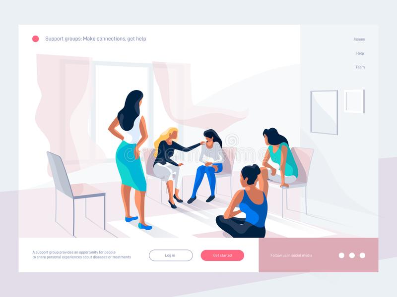 Women talk and share personal experience during group therapy. Life situations and solving problems. Creative landing vector illustration