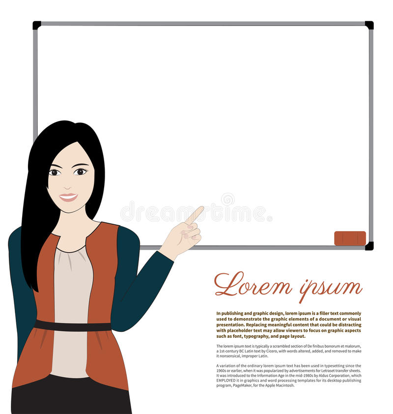 Women teacher. And whiteboard on white background stock illustration