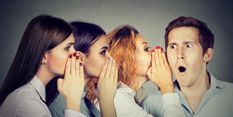 Group of young people gossiping stock image
