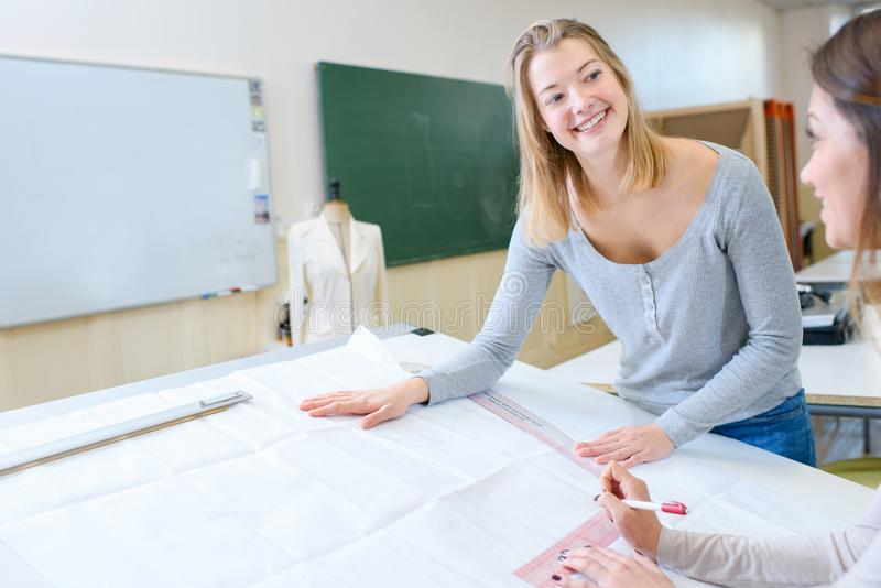 Women on textil class. Women on a textil class stock photography