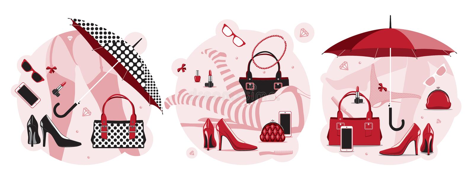 Women things set vector illustration