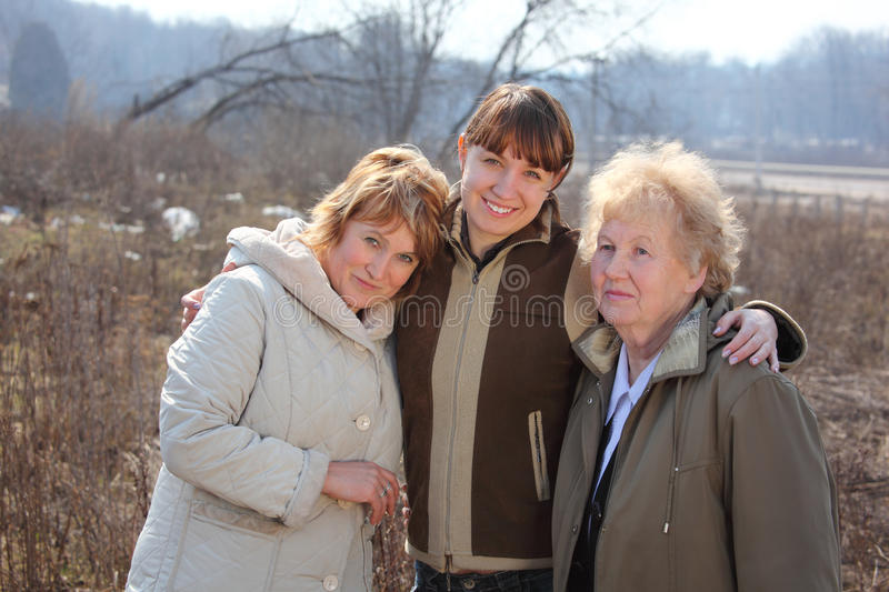 Women of three generations of one family. Spring outdoor royalty free stock photography