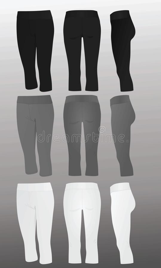 Women three quarter`s pants. Front, back and side view stock illustration