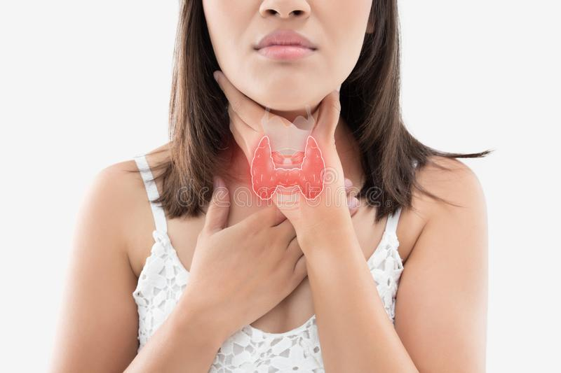 Women thyroid gland control. The photo of thyroid is on the human body, Women thyroid gland control. Sore throat of a people against gray background stock images
