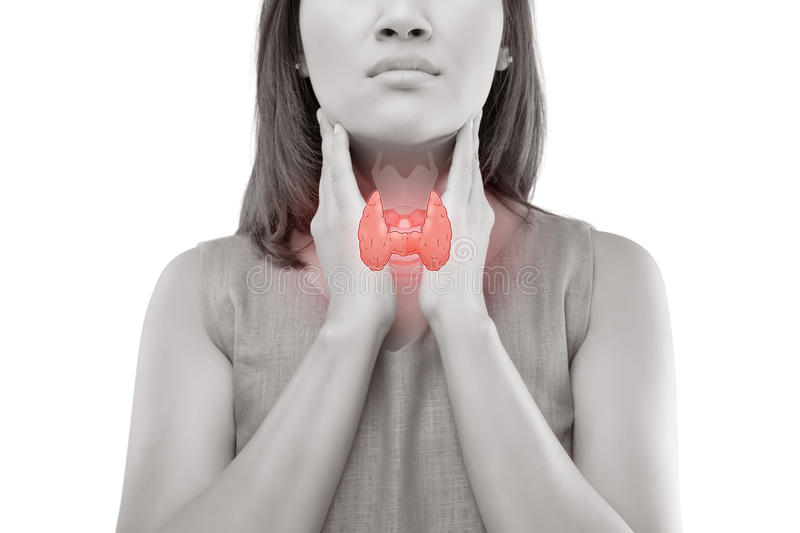 Women thyroid gland control. Sore throat of a people on white background royalty free stock images