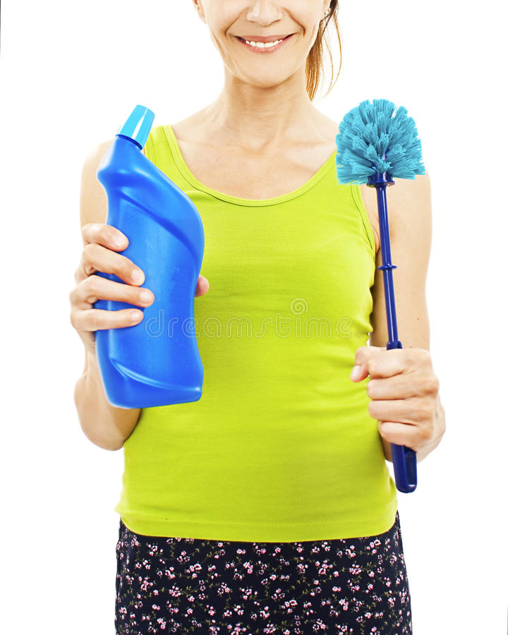Women with toilet brush stock image