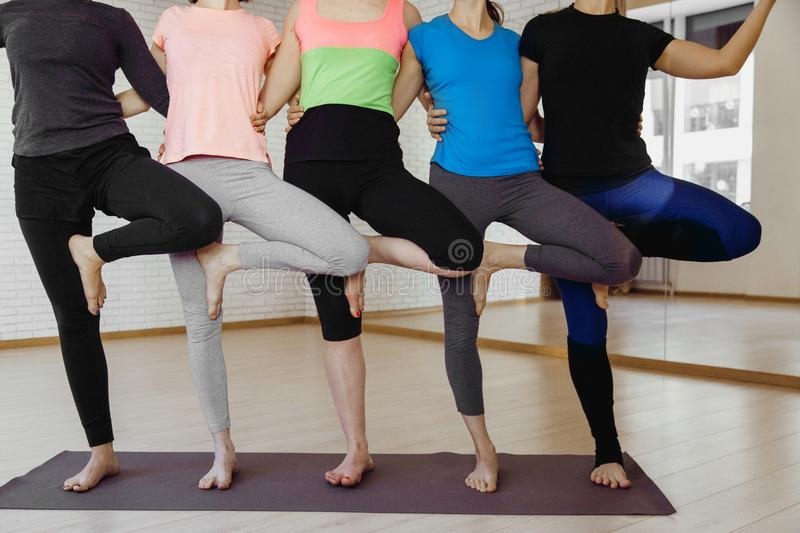 Synchronous exercise for the group stock images