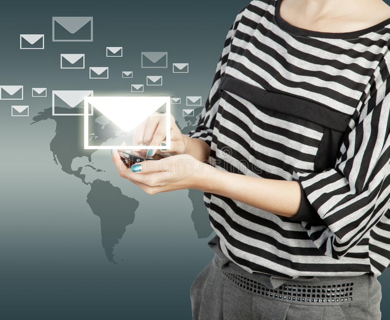Women touch smart phone in hand with email social network royalty free illustration