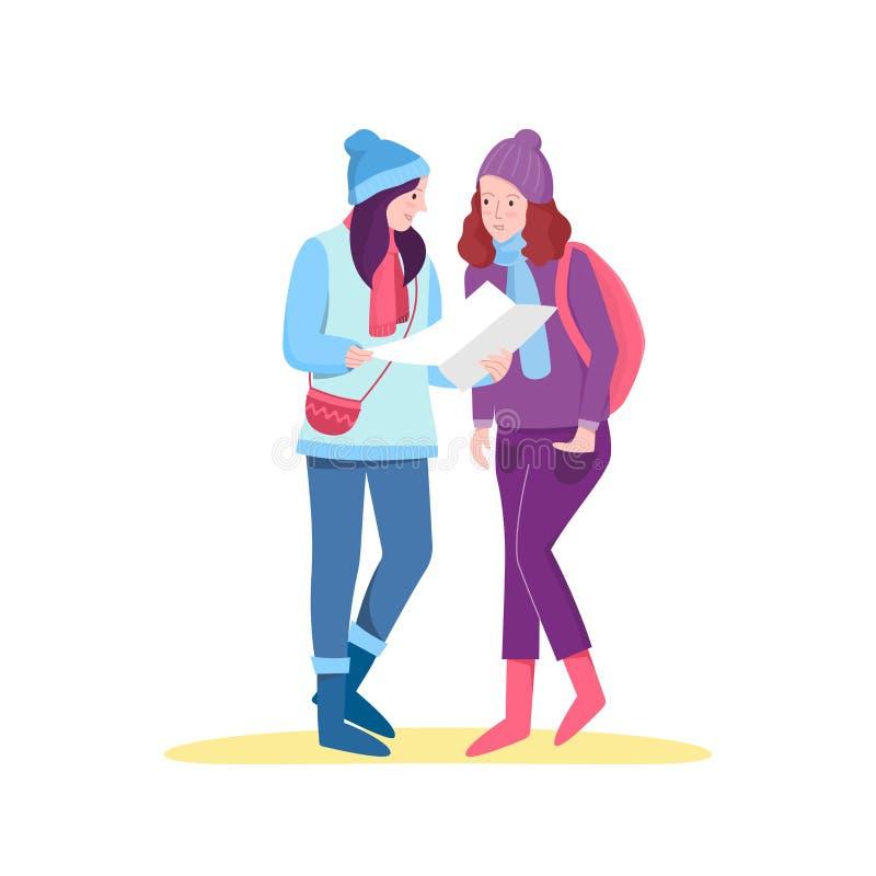Women tourist planning to trip. royalty free illustration
