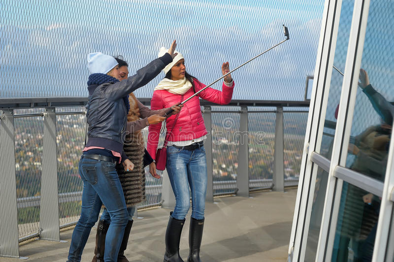 Women tourists do on selfie royalty free stock image