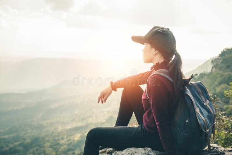 Women tourists walk in the climbing. Women tourists walk in the climbing to nature tours royalty free stock images