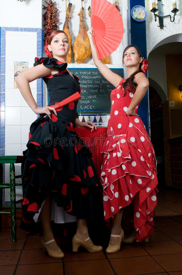 Download Women In Traditional Flamenco Dresses Dance During The Feria De Abril On April Spain Stock Image - Image: 32649761