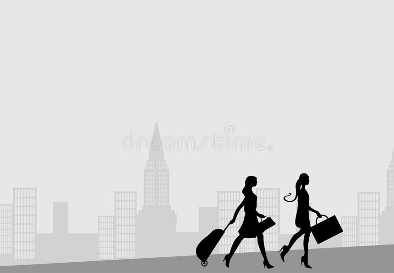 Download Women with travel cases stock vector. Illustration of journey - 23001670