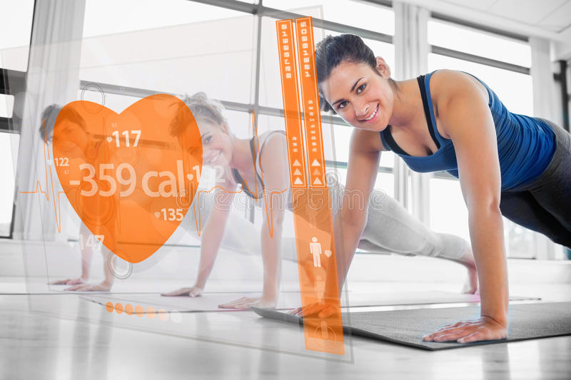 Women using interface at the gym. Women using modern orange interface at the gym vector illustration
