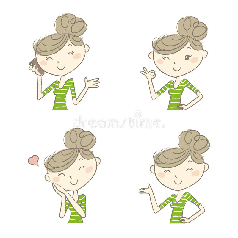 Women with various expression and poses. Young women with various expression and poses vector illustration