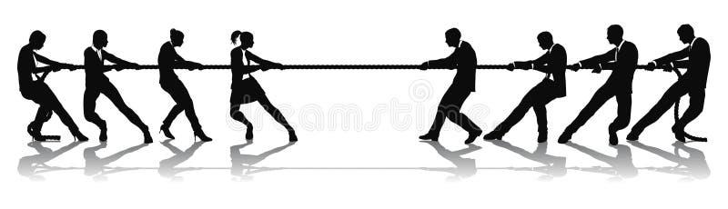 Women versus men business tug of war competition vector illustration