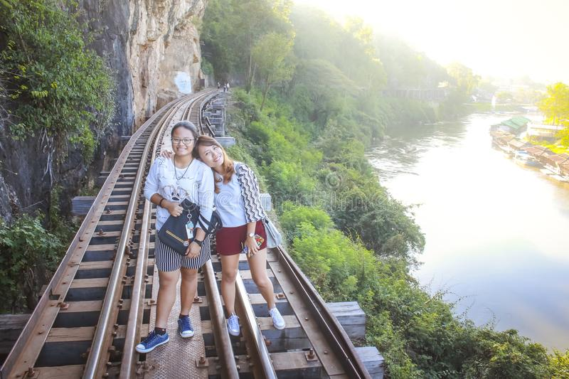 Women visit the Death Railway historical World War 2. royalty free stock images