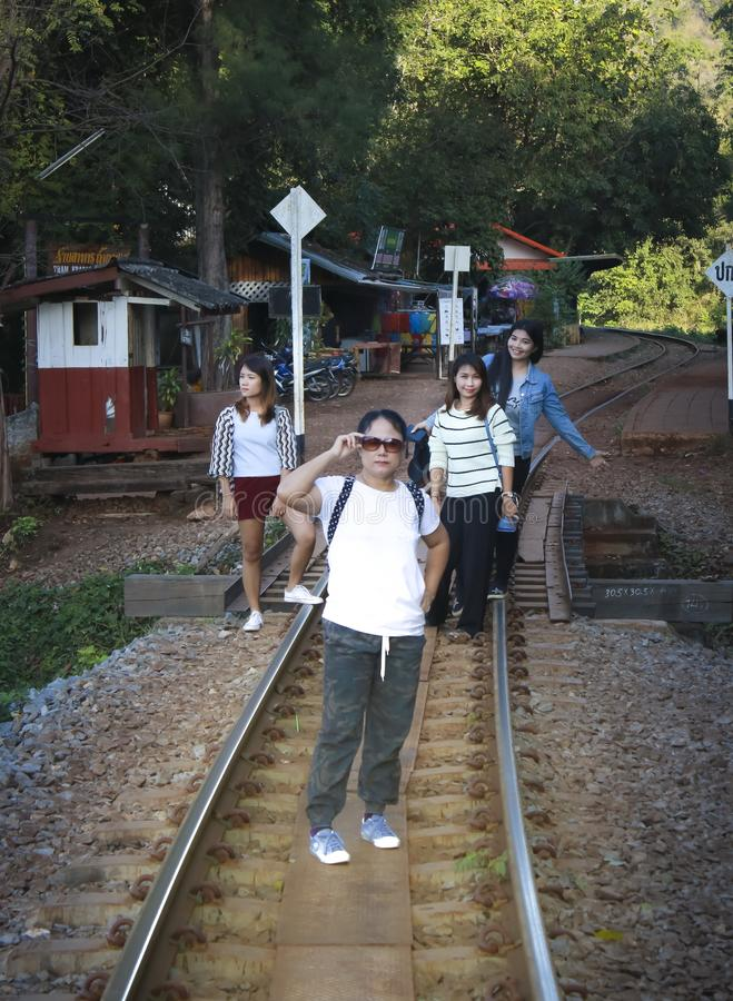 Women visit the Death Railway historical World War 2. royalty free stock photography