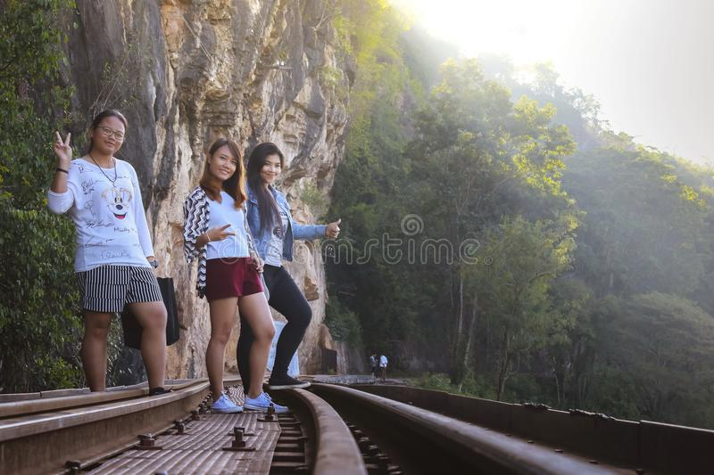 Women visit the Death Railway historical World War 2. royalty free stock image