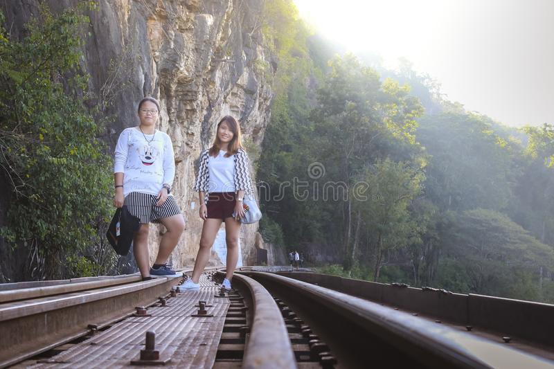 Women visit the Death Railway historical World War 2. stock image