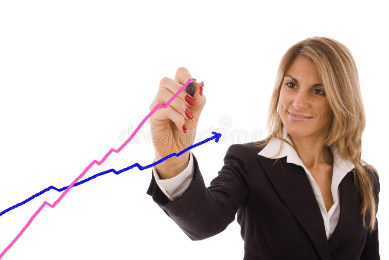 Women drawing chart going up to success stock photo
