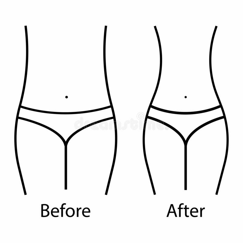 Women waist, weight loss. Weight training and Healthy Eating. Body - before and after. White background. Vector illustration royalty free illustration