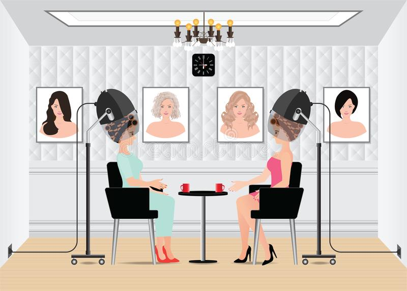 Women waiting for while drying under hairdryer in beauty salon. royalty free illustration