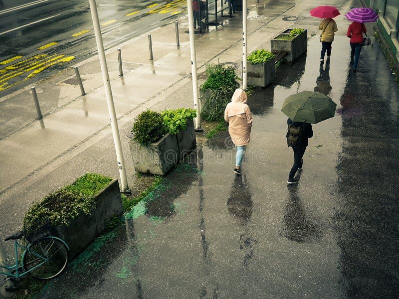 Women walk with an umbrella on a rainy, wet street. Colorful umbrella stock image
