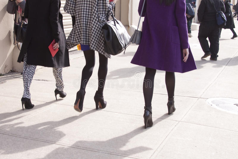 Women walking in the city royalty free stock image
