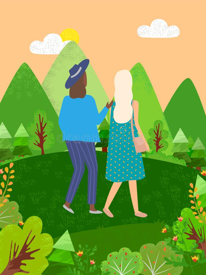 Women Walking in Green Park or Forest Back View royalty free illustration
