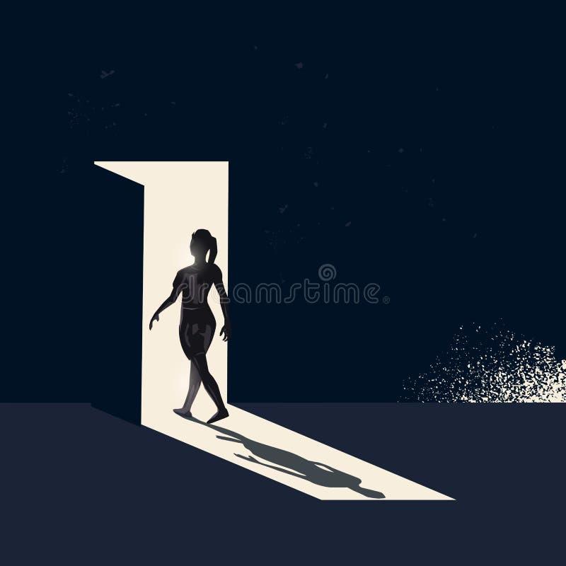 Women Walking Through A Open Door. A women walking through a open door representing choices and new pathways. Conceptual business vector illustration vector illustration
