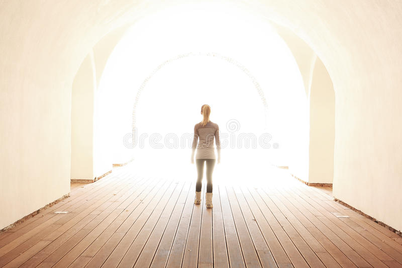 Women Walking To The Light Royalty Free Stock Images