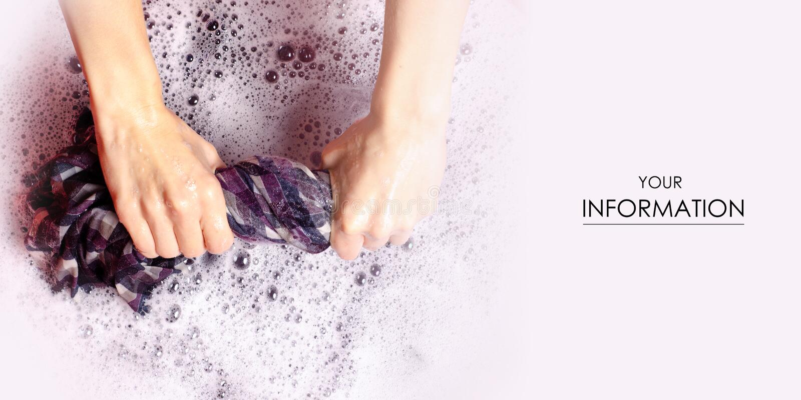 Women washing color clothes shirt in basin enemale powdered detergent pattern. Top view stock image