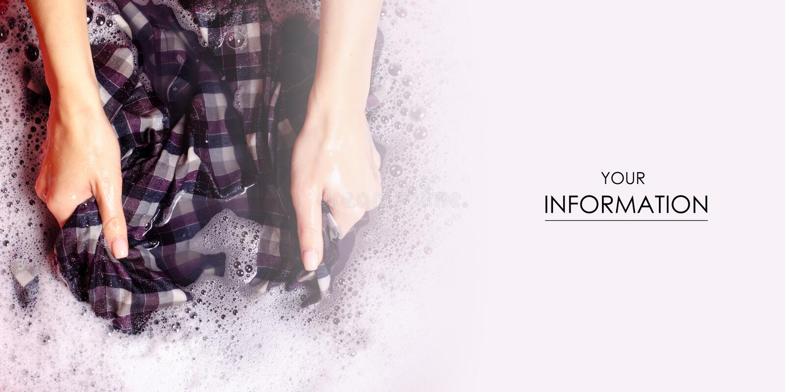 Women washing color clothes shirt in basin enemale powdered detergent pattern. Top view stock photo