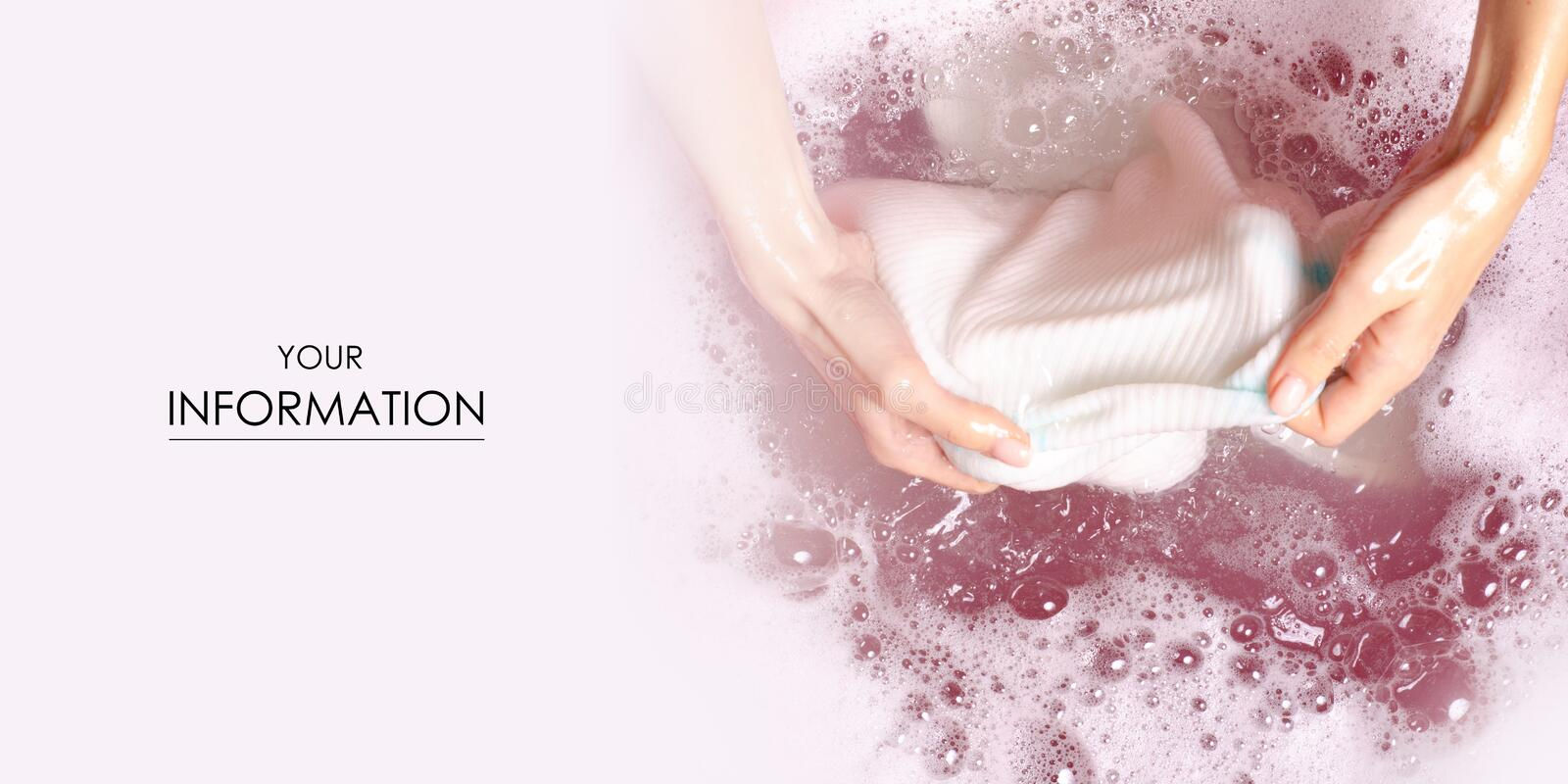 Women washing white sweater clothes in basin enemale powdered detergent pattern royalty free stock images