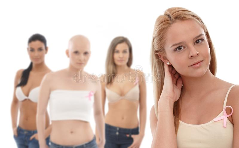 Women wearing Breast Cancer Awereness ribbon. Young women in underwear wearing pink breast cancer awereness ribbon. This is a free image, part of a charity stock images