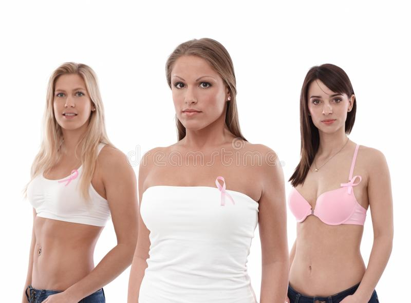 Download Women Wearing Breast Cancer Awereness Ribbon Stock Image - Image: 33570111