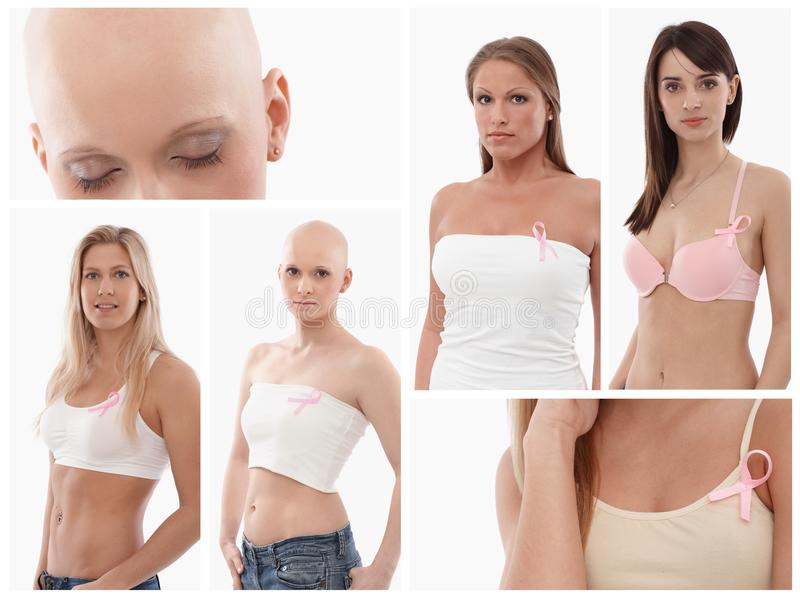 Download Women Wearing Breast Cancer Awereness Ribbon Stock Image - Image of prevention, medical: 33573803