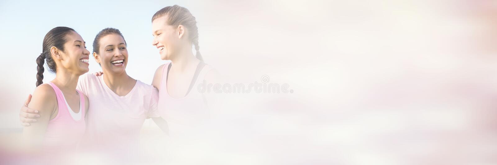 Women wearing pink for breast cancer royalty free stock photos