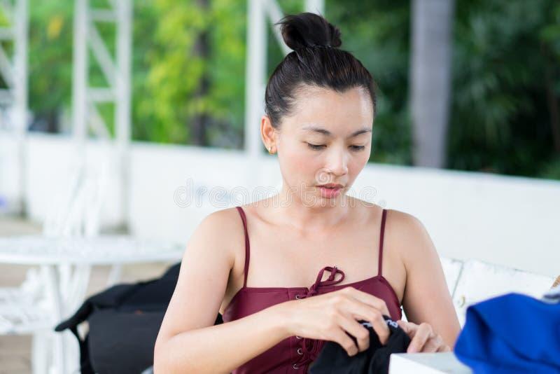 Women wearing swimwear are preparing to exercise by swimming. stock photo