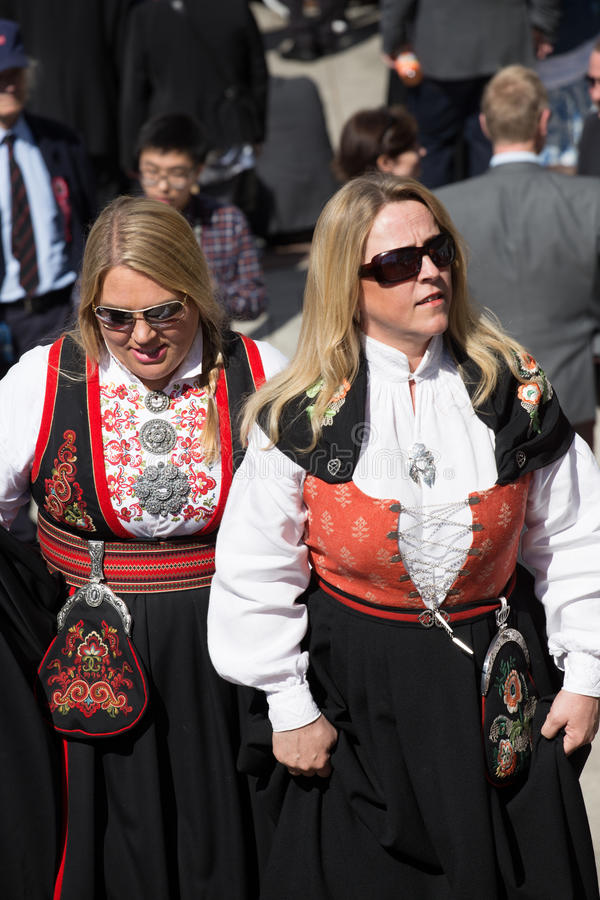 Women wearing traditional Norwegian costume - bunad - on Norway`s National Day, May 17th royalty free stock photo