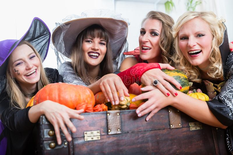 Women wearing witch costumes while posing together at Halloween stock image
