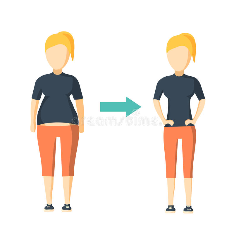Women weight loss success. Fat and slim woman before and after diet vector illustration royalty free illustration